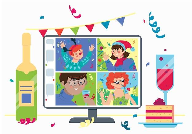 Online feest met vrienden. kerst en nieuwjaar vieren op internet.