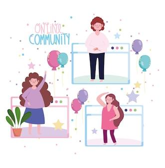Online feest, verbonden mensen die de ballondecoratie van een verjaardag vieren