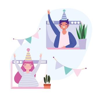 Online feest, verjaardag of ontmoeting met vrienden, man en vrouw feest met hoeden wimpels decoratie