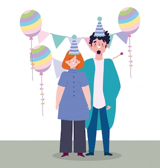 Online feest, verjaardag of ontmoeting met vrienden, man en vrouw met hoeden ballon en wimpels viering illustratie