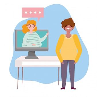 Online feest, verjaardag of ontmoeting met vrienden, man pratende vrouw in video computer illustratie