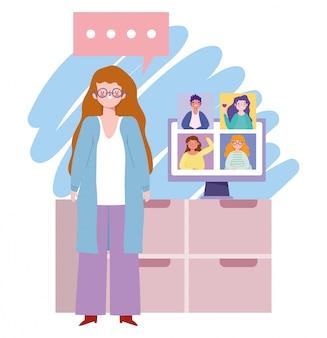 Online feest, verjaardag of ontmoeting met vrienden, vrouw in huis met computer groepsgesprek illustratie