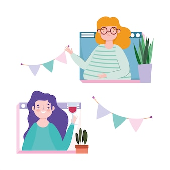 Online feest, verjaardag of ontmoeting met vrienden, vrouwen website feestdecoratie