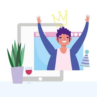 Online feest, verjaardag of vrienden ontmoeten, man website smartphone feest