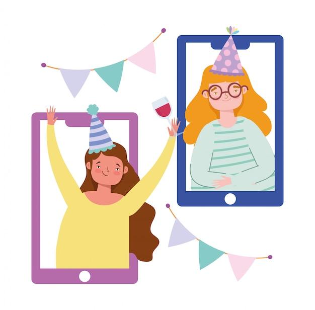 Online feest, verjaardag of vrienden ontmoeten, mensen die thuis vieren en sociale afstand nemen