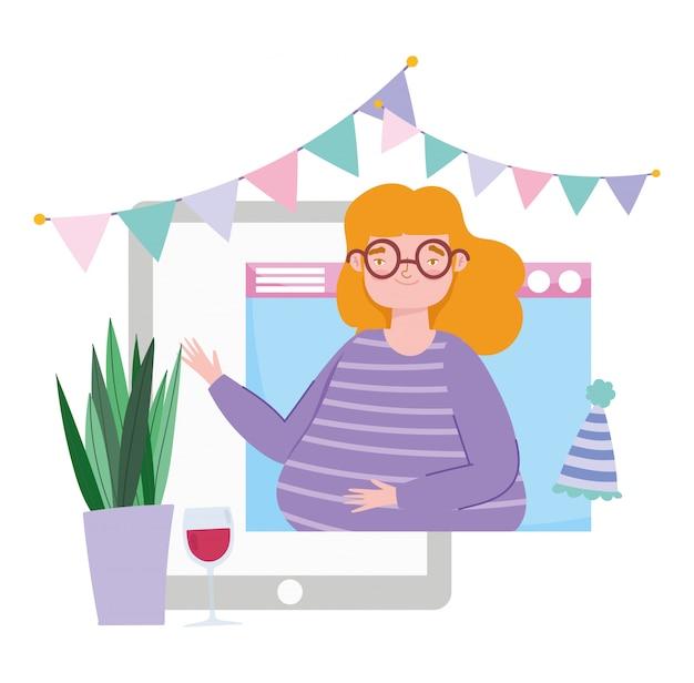 Online feest, verjaardag of vrienden ontmoeten, vrouw in telefoon viert in de verte