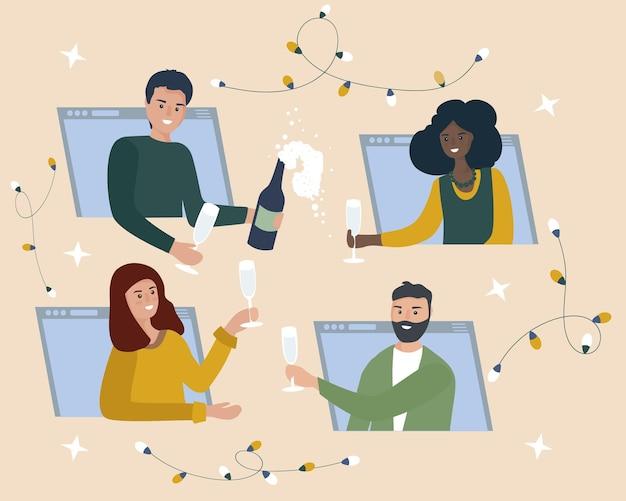 Online feest vrienden drinken wijn veel plezier in videochat