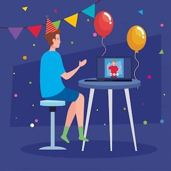 Online feest, vrienden ontmoeten, mannen hebben online feest in quarantaine