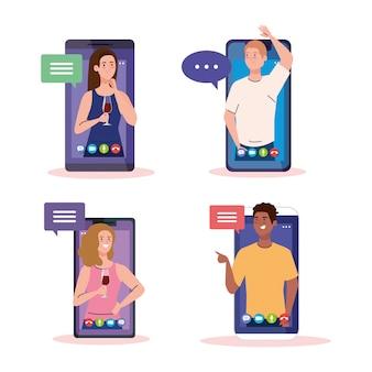 Online feest, vrienden ontmoeten, mensen hebben online feest samen in quarantaine, feest webcamera online vakantie in smartphones