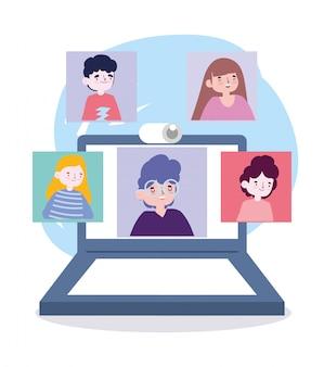 Online feest, vrienden ontmoeten, mensen houden contact via videogesprek op laptop
