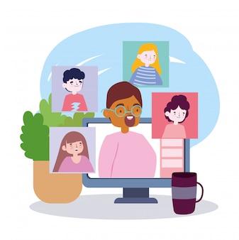 Online feest, vrienden ontmoeten, mensen praten thuis via een laptop