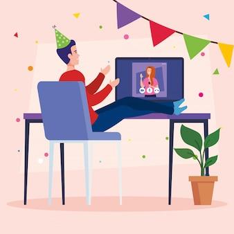 Online feest, vrienden ontmoeten, stel hebben online feest samen in quarantaine
