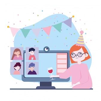 Online feest, vrienden ontmoeten, vrouw met computergroep met glaswijngroep