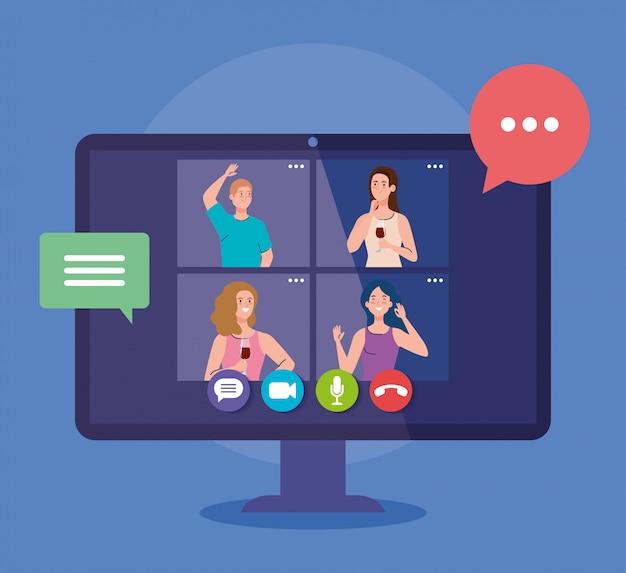 Online feest, vrienden ontmoeten, vrouwen hebben online feest samen in quarantaine, feest webcamera online vakantie op de computer