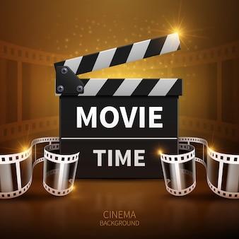 Online film en televisie vectorachtergrond met bioskoopklep en filmbroodje. kleppenbord voor f