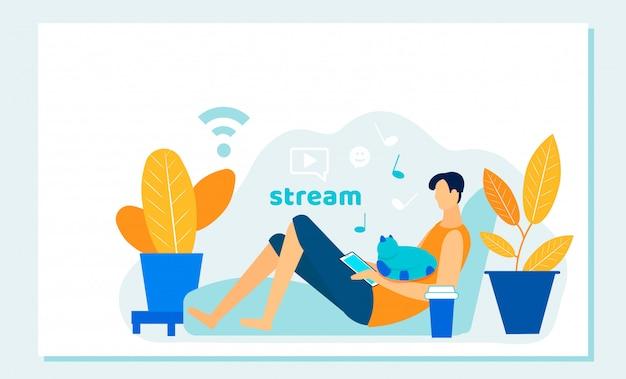 Online filmstream met mobiel apparaat. streaming