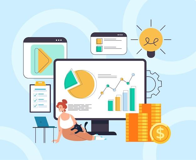 Online financiële analyse thuisboekhouding freelance werkconcept