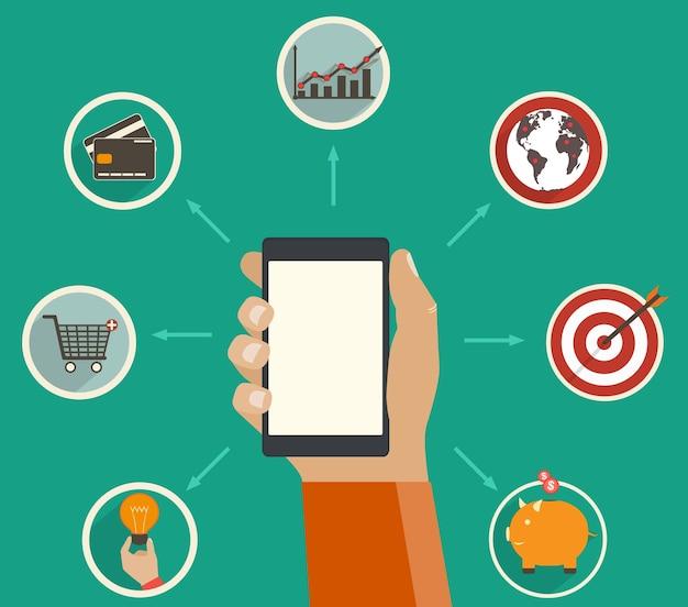 Online financiële app, bijhouden van financiële analyse op een digitaal apparaat, concept in stijl.