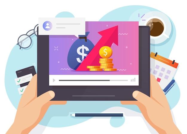 Online financiële cursussen voor beleggen of handelen en budgetteren van internetvideo-educatie platte cartoon
