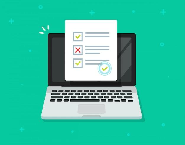Online formulieronderzoek op laptopcomputer of internet quiz examen geïsoleerd