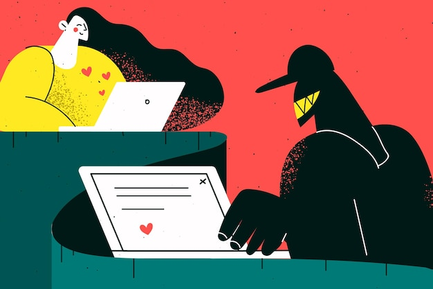 Online fraude, truc in internet dating concept