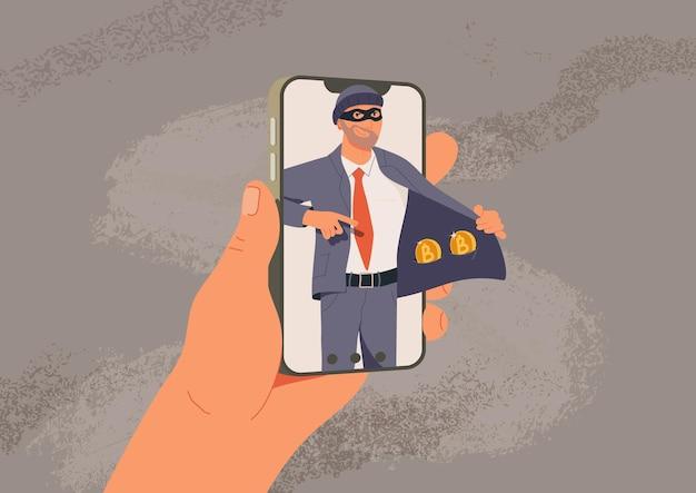 Online fraude vector illustratie web hacking fraudeur verkoopt nep cryptocurrency internet misdaad plat
