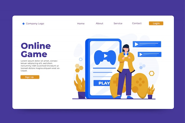 Online game concept bestemmingspagina sjabloon