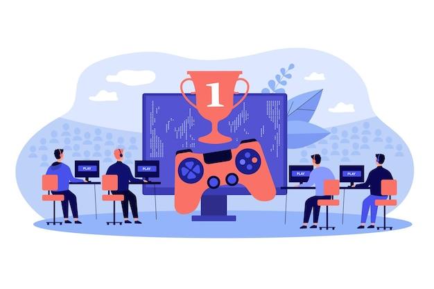 Online gamers die bij pc-illustratie spelen