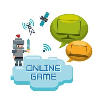 Online games karakter concept bubble spraaktechnologie satelliet