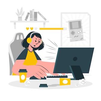 Online games verslaving concept illustratie