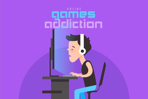 Online games verslaving illustratie met gamer spelen