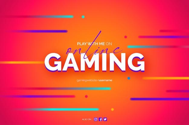 Online gaming achtergrond met neon lijnen