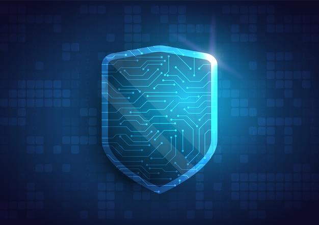 Online gegevensbeschermingsschild en abstract met computertechnologie