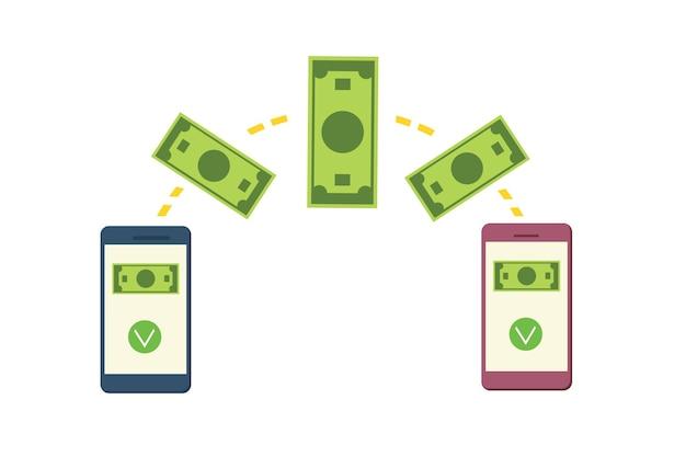 Online geld overmaken vanaf een mobiele telefoon. het concept van snelle betaling. cartoon vectorillustratie.