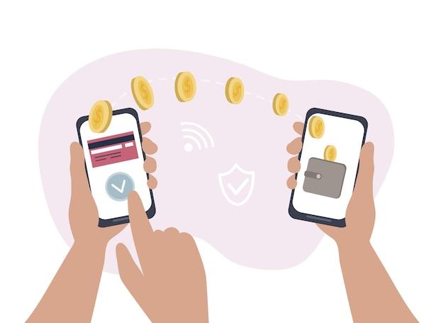 Online geld overmaken via mobiele bankapplicaties. betalen via draadloze smartphone. aankoop van goederen in een online winkel, kredietportefeuille in een mobiel. veilig en snel betalen via internet