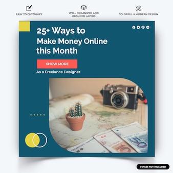 Online geld verdienen instagram post webbanner sjabloon vector premium vector