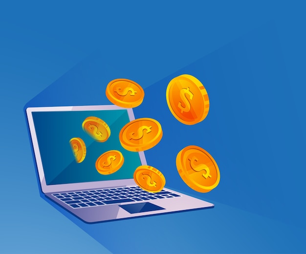 Online geldoverdracht illustratie