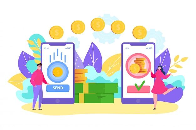 Online geldoverdracht, stripfiguur van kleine man met app-smartphone, stuur snelle transactiemunt naar vrouw