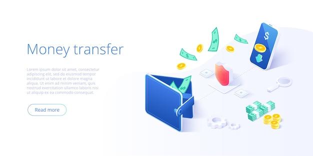 Online geldoverdracht van portemonnee naar smartphone in isometrisch.