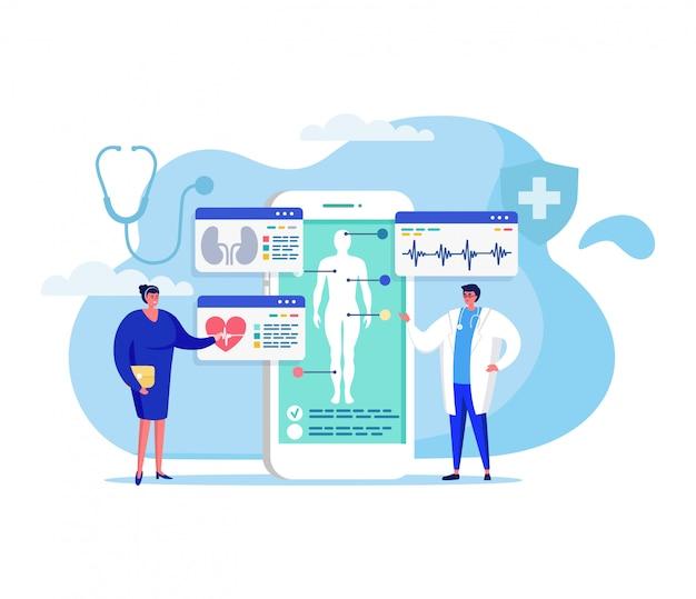 Online geneeskunde concept illustratie, cartoon patiënt karakter ontmoeting met arts voor diagnose, behandeling of overleg