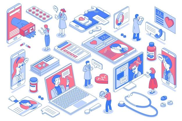 Online geneeskunde-elementen ingesteld met patiënten die videoconsult krijgen 3d isometrische geïsoleerde illustratie