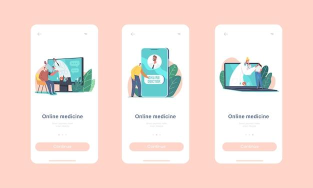 Online geneeskunde mobiele app-pagina onboard-schermsjabloon. kleine patiënten gebruiken medische consultatie op afstand via internet