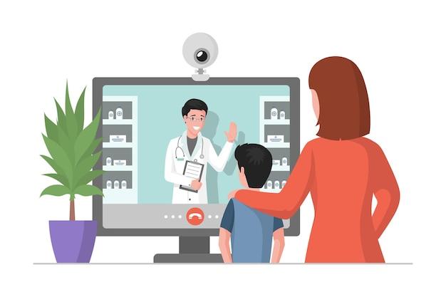 Online geneeskunde overleg vlakke afbeelding moeder en haar zoon