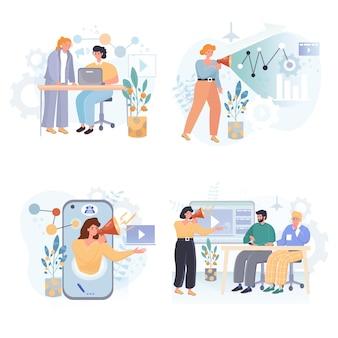 Online geneeskunde platte ontwerpset illustraties