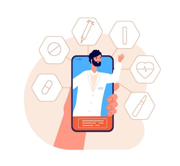 Online geneeskunde. telefonische gezondheidsconsultatie, medische noodsituatie of telegeneeskunde. virtuele mobiele dokter chat of ondersteuning vector dienstverleningsconcept. online geneeskunde gebruik telefoon, zorg en overleg