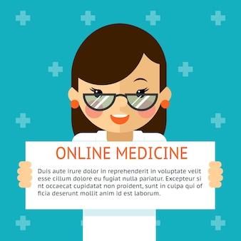 Online geneeskundebanner. vrouw arts toont tekstteken. gezondheid en diagnose, ziekenhuis. vector illustratie