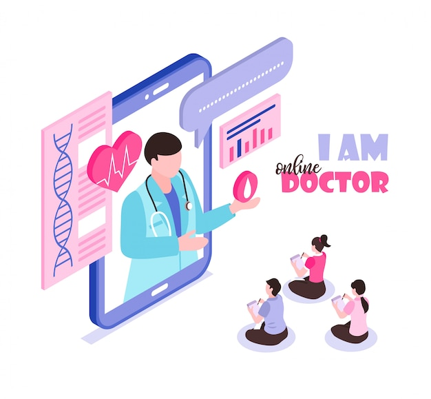 Online geneeskundeconcept met mensen die 3d isometrische arts raadplegen