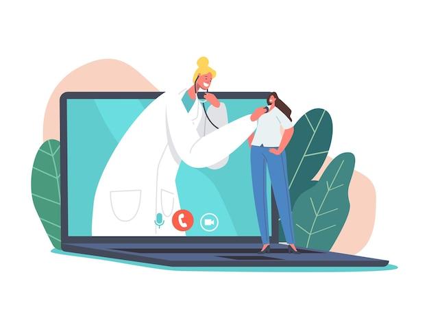 Online geneeskundeconcept. vriendelijke dokter karakter luisteren vrouw patiënt hart kloppend via enorme laptop pc-scherm. gezondheidszorg mobiele applicatie, afspraak. cartoon mensen vectorillustratie