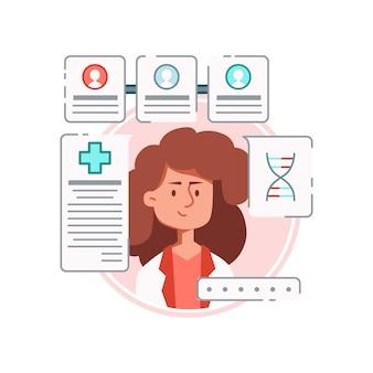 Online geneesmiddelsamenstelling met vrouwelijk karakter van arts, omringd door medicijnbestellingen