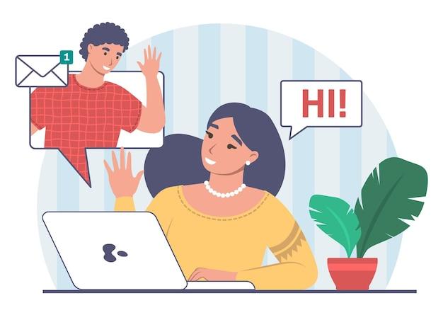 Online gesprek tussen jong stel via internet. mensen die berichten verzenden en ontvangen, vectorillustratie.